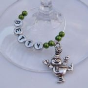 Dancing Snowman Personalised Wine Glass Charm
